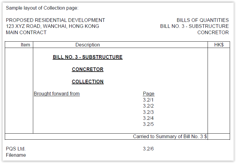 Formats of bills of quantities sample layout of collection page altavistaventures Image collections