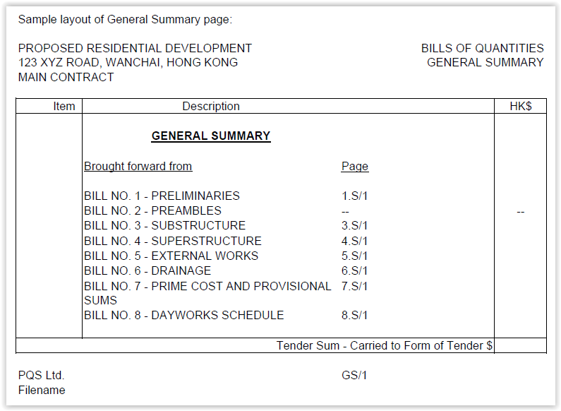 Bills of quantities sample layout of general summary page altavistaventures Image collections